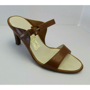 Salvatore Ferragamo Brown Leather Sandal Slide